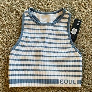 SOUL Long Line Seamless Bra Blue & White